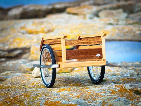 remorque vélo bois vue arrière