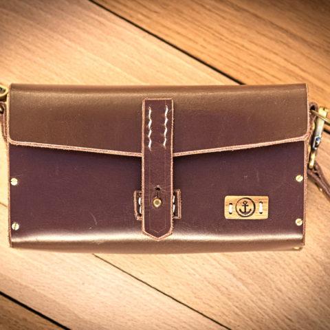 sac à main cuir et bois couleur chocolat