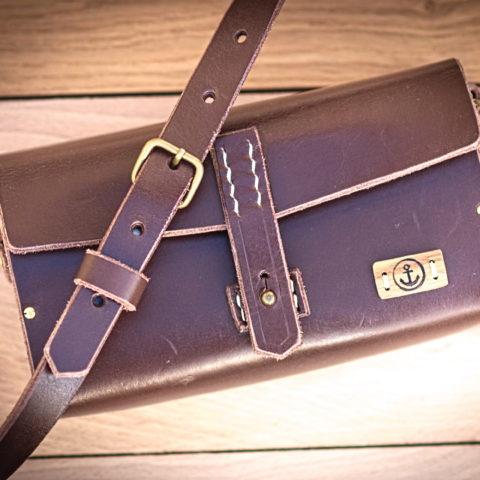 sac à main cuir et bois bandoulière réglable et amovible