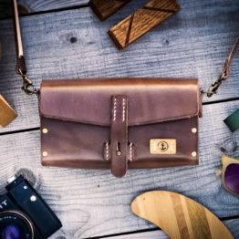 sac à main cuir et bois marron