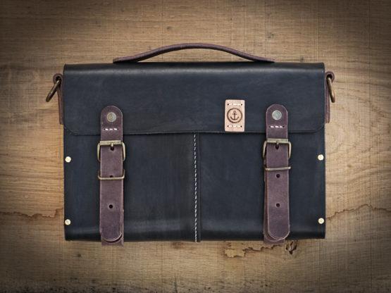 sac à main cuir et bois noir vintage