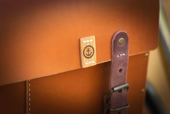 Cartable cuir et bois cycles tempete