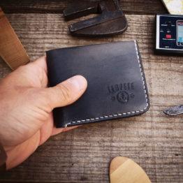 Portefeuille cuir artisanal fabriqués en France noir vintage